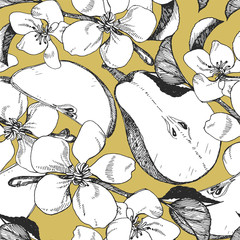 Seamless pattern with hand-drawn  Pears. Vector.