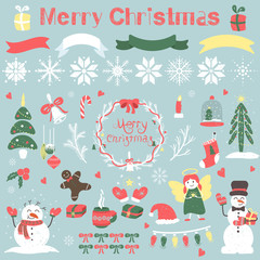 set of Christmas items / New year items / Snowflakes / painted by hand