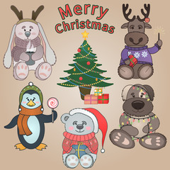 Set of cute animals / Christmas characters  / New Year tree