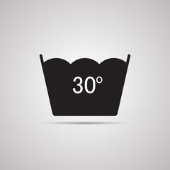 Векторная иллюстрация иконка простой символ плоский для веб Washing ручная стирка символ по уходу за одеждой 30
