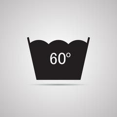 Векторная иллюстрация иконка простой символ плоский для веб Washing ручная стирка символ по уходу за одеждой 60
