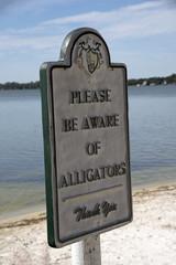 Mount Dora Florida USA - October 2016 - Alligator warning sign on the beach of Lake Dora