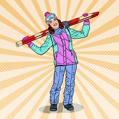 Pop Art Happy Woman with Ski on Winter Holidays. Vector illustration