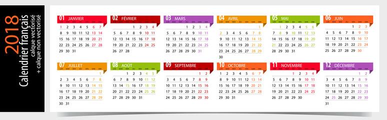 Calendrier 2018 français avec jours fériés / Modifiable