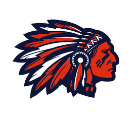 American native chief head mascot. Vector logo or icon