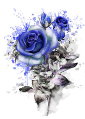 watercolor flowers. romantic floral illustration, blue rose. Splash paint. branch of flowers isolated on white background. Leaf and buds. Bouquet, composition for wedding or greeting card