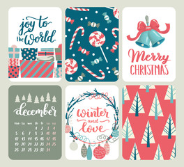 Collection of six Christmas and New Year cute ready-to-use gift cards. Set of 6 printable hand drawn holiday label in red, blue and white. Vector seasonal badge design.