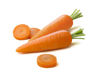Whole carrots round pieces isolated on white background