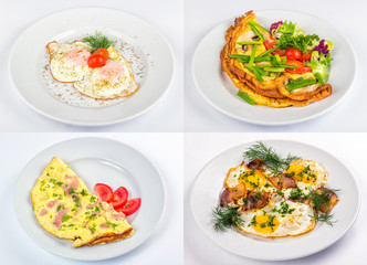 four breakfast with fried egg and omelette