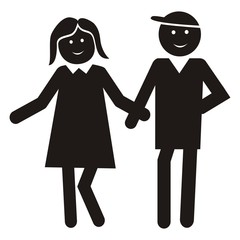 Figure, lady and man. Black vector icon. Young couple on a walk.