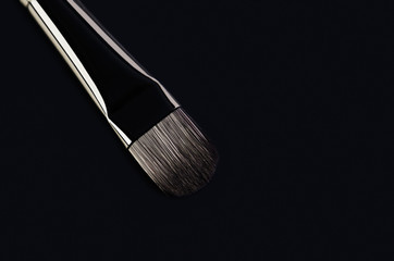 one makeup brush close-up diagonally on a black background. hori