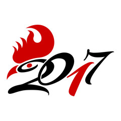 Happy Chinese new year 2017 with rooster, symbol of new year 2017