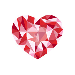 red polygonal heart. a symbol of Valentine's Day - Stock Vector