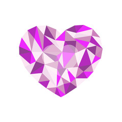 lilac polygonal heart. a symbol of Valentine's Day - Stock Vecto