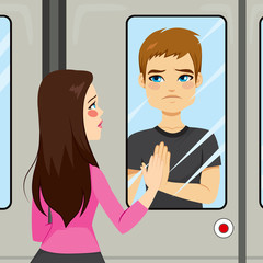 Illustration scene of two young lovers on a farewell train moment