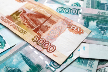 Money background with russian Ruble