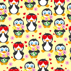 Cute pattern. Love penguin and penguin with bouquet of flowers on a yellow background.