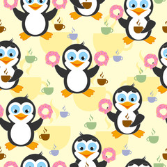 Cute seamless pattern with penguin, donuts and coffee on a yellow background.