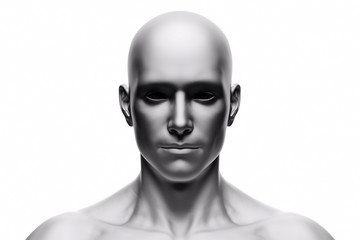 Generic human man face, front view. Futuristic