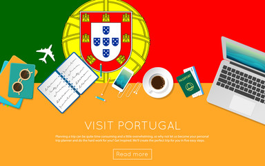 Visit Portugal concept for your web banner or print materials. Top view of a laptop, sunglasses and coffee cup on Portugal national flag. Flat style travel planninng website header.