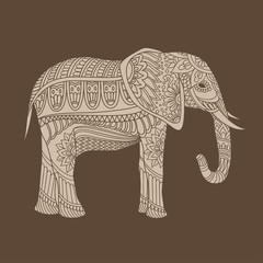 Indian elephant in traditional asian style. Ornate elephant on lace background for coloring page design, t-shirt design etc. Hand drawn vector illustration