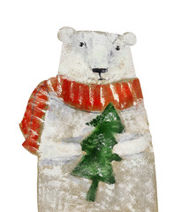 Polar bear with Christmas tree. Hand drawing illustration
