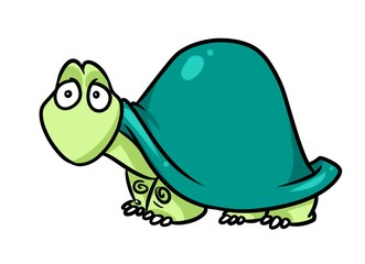 Green Turtle cartoon illustration isolated image animal character