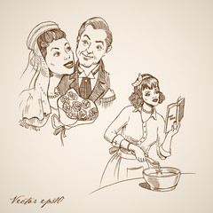 Engraving hand vector bride and groom, housewife