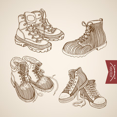 Engraving hand vector lacing sport shoes and boots doodle