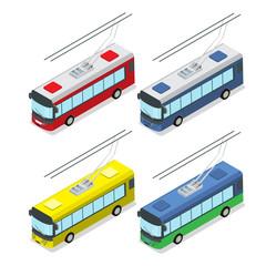 Flat isometric Trolley vector. 3d Passenger Transport.