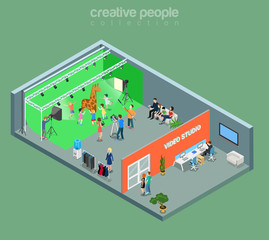 Flat isometric photographer client photo studio interior vector
