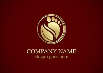 foot step leaf nature gold logo