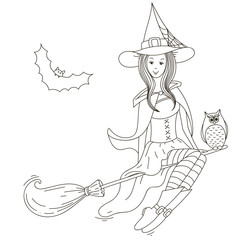 Girl witch on a broomstick. Vector isolated outline white background.
