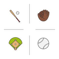 Baseball color icons set
