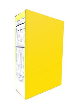 Yellow cereal box. Side and front view with copyspace.