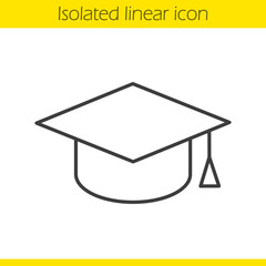Square academic graduation cap linear icon