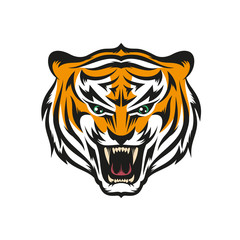 Isolated head of roaring tiger with grin in style the mascots for sports teams. Layered vector illustration - easy to edit.