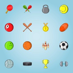Sports stuff icons set. Cartoon illustration of 16 sports stuff vector icons for web