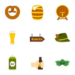 Holiday of beer icons set. Flat illustration of 9 holiday of beer vector icons for web