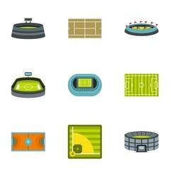 Sports stadium icons set. Flat illustration of 9 sports stadium vector icons for web
