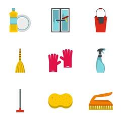 Sanitation icons set. Flat illustration of 9 sanitation vector icons for web