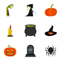All saints day icons set. Flat illustration of 9 all saints day vector icons for web