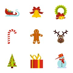 Holiday icons set. Flat illustration of 9 holiday vector icons for web