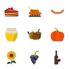 Autumn festival icons set. Flat illustration of 9 autumn festival vector icons for web