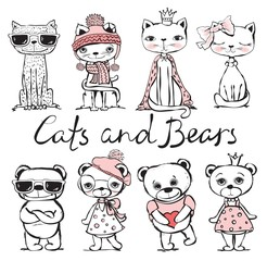 Cute hand drawn cats and bears