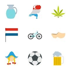 Holland icons set. Flat illustration of 9 Holland vector icons for web