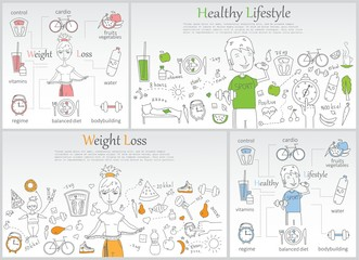 Doodle line banners of Healthy lifestyle and Weight loss.