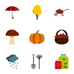 Season of year autumn icons set. Flat illustration of 9 season of year autumn vector icons for web