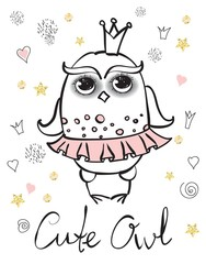 Cute owl girl princess