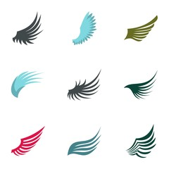 Wings of bird icons set. Flat illustration of 9 wings of bird vector icons for web
